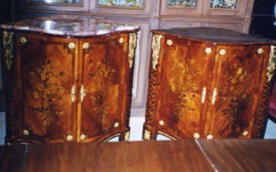 A Pair Of Louis XVI Floral Marquetry Encoignure restoration 03