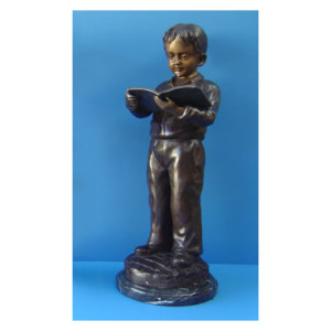 Bronze figure of a girl reading