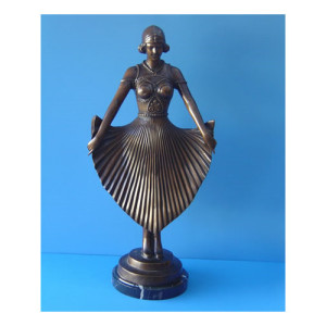 DANCER WITH RAISED SKIRT - BRONZE STATUE