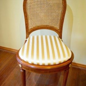 Louis XVI Style Satinwood and Caned Dining Chairs