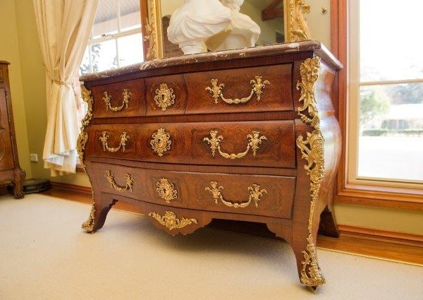 Regency style ormolu mounted marquetery Commode Tombeau
